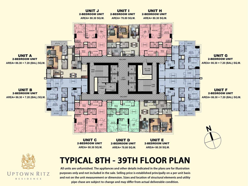Uptown Rits 8th-39th Floor Plan