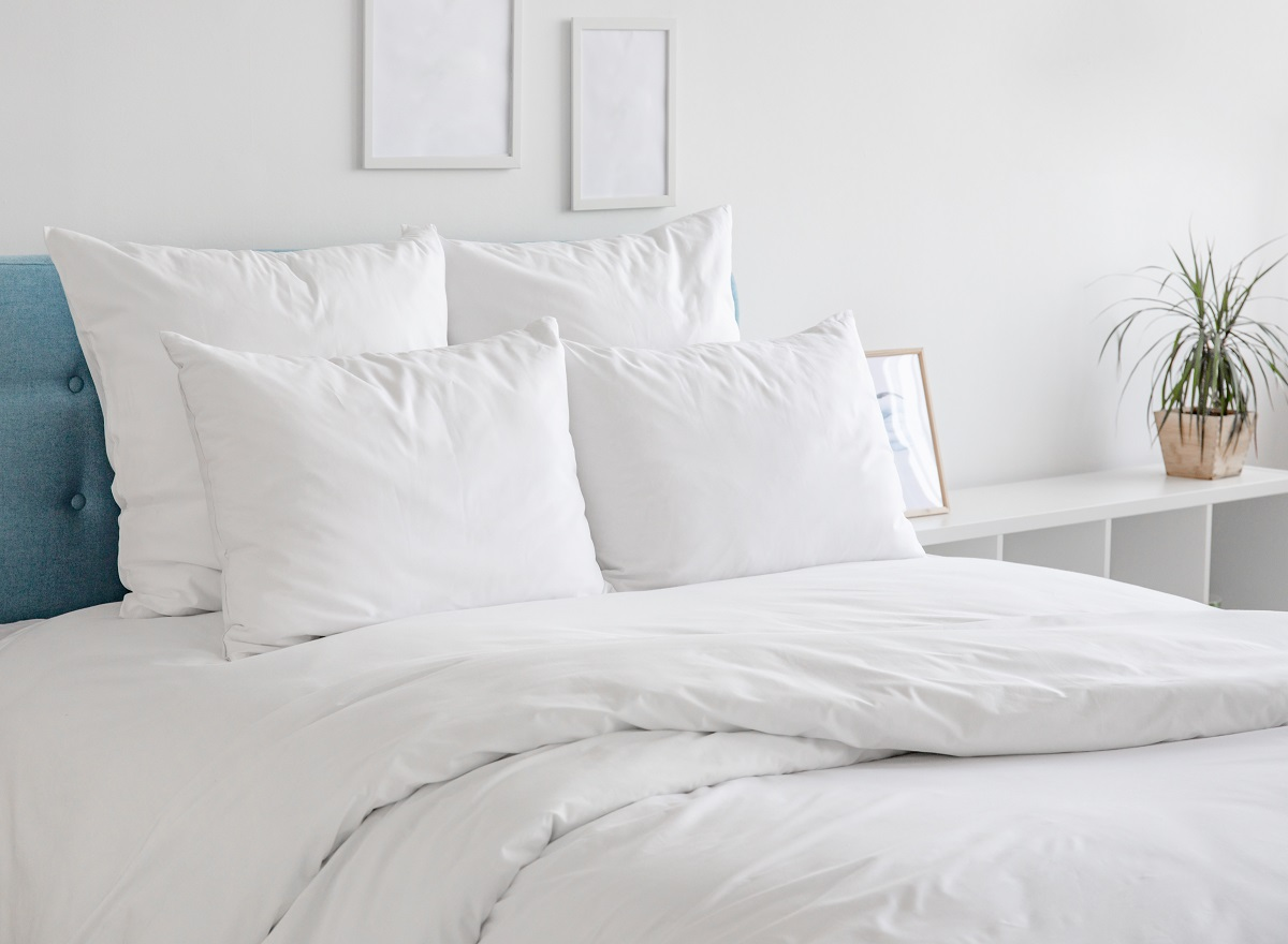 White pillows and duvet on the blue bed.