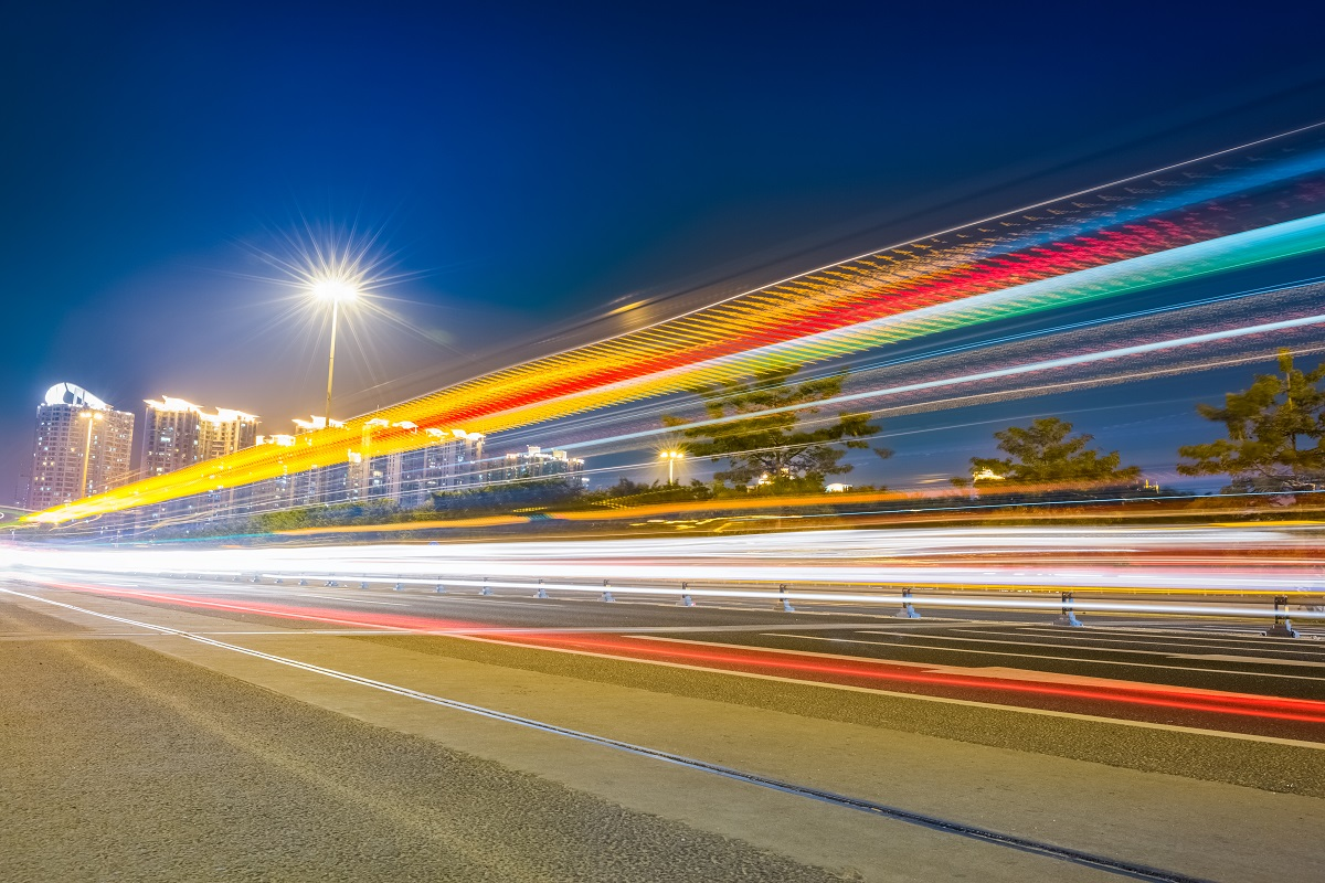 light trails on the city highway