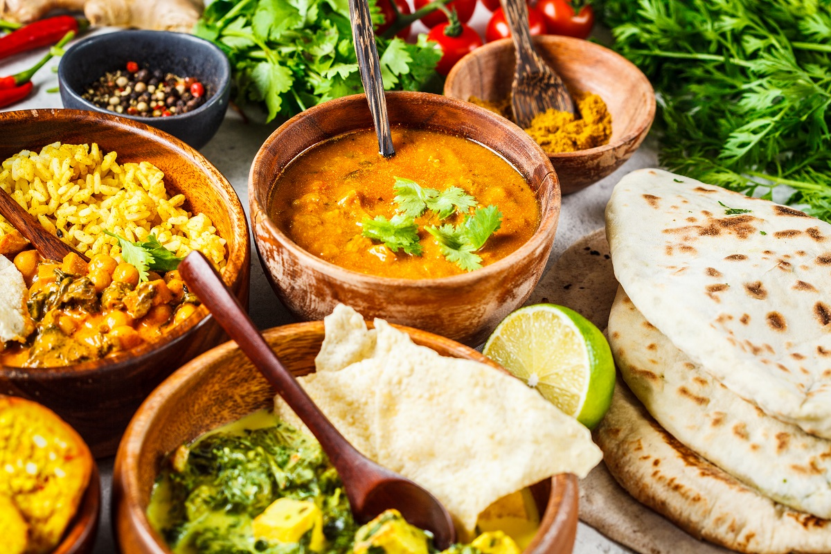 Food traditional Indian cuisine. Dal, palak paneer, curry, rice,